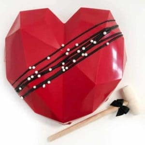 red heart smash cake for valentines, birthdays or anytime